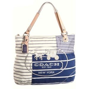 Coach Poppy Striped Tote Bag